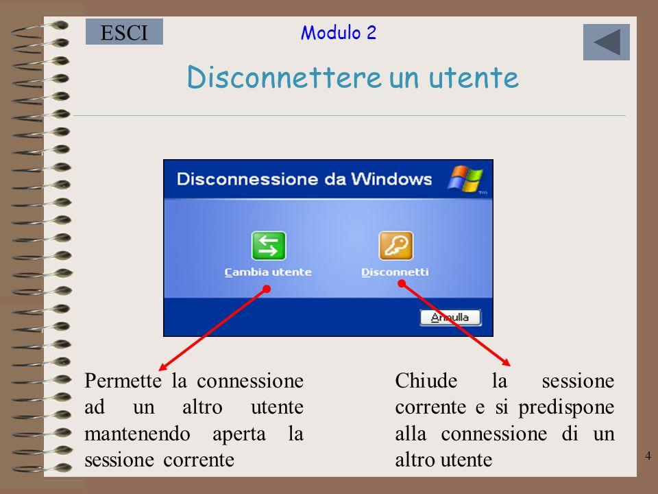 Modulo 2 ESCI 4 Disconnettere un utente Permette la connessione ad un altro utente mantenendo aperta la sessione corrente Chiude la sessione corrente e si predispone alla connessione di un altro utente