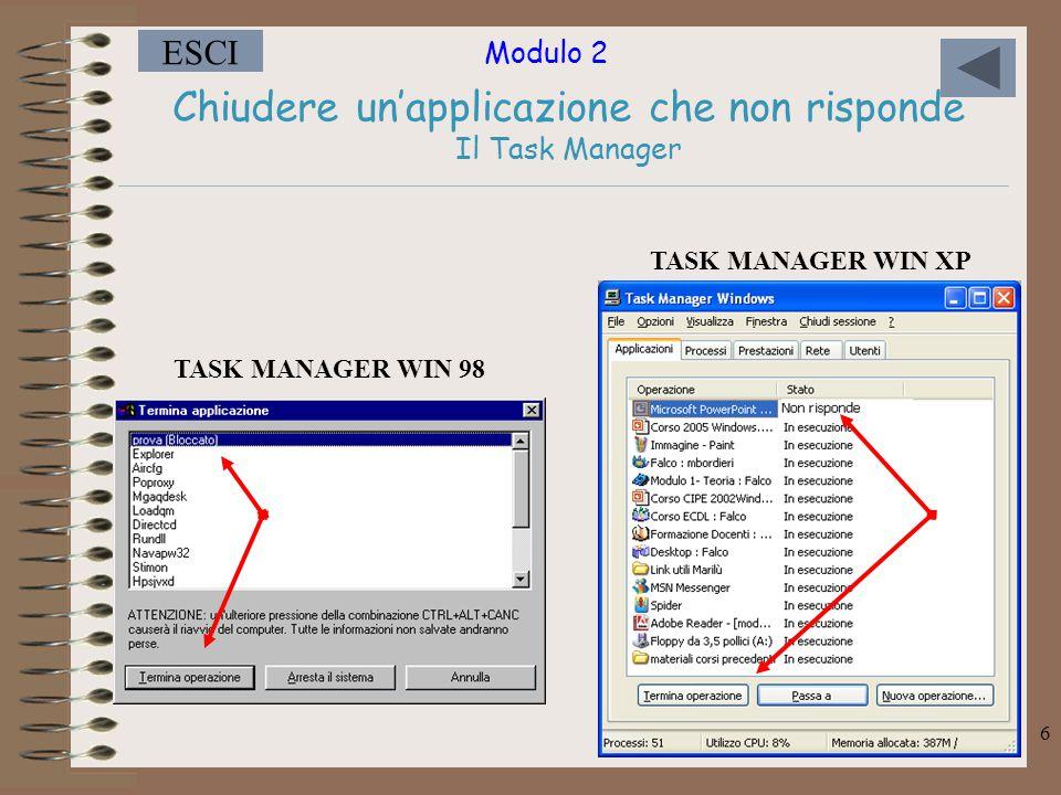 Modulo 2 ESCI 6 Chiudere un'applicazione che non risponde Il Task Manager TASK MANAGER WIN 98 TASK MANAGER WIN XP