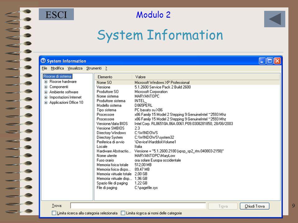 Modulo 2 ESCI 20 AGGIUNGERE UN PROGRAMMA AL MENU AVVIO Fare clic sul pulsante Avvio, quindi scegliere Impostazioni.