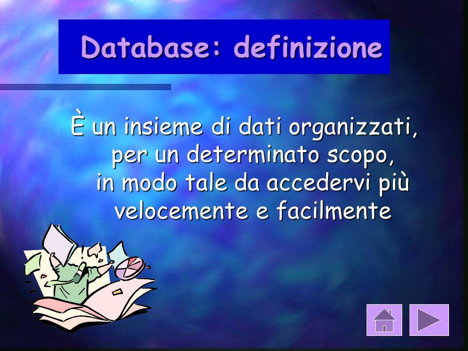 per riassumere: Dati Database Dati Organizzazione tabelle maschere query report