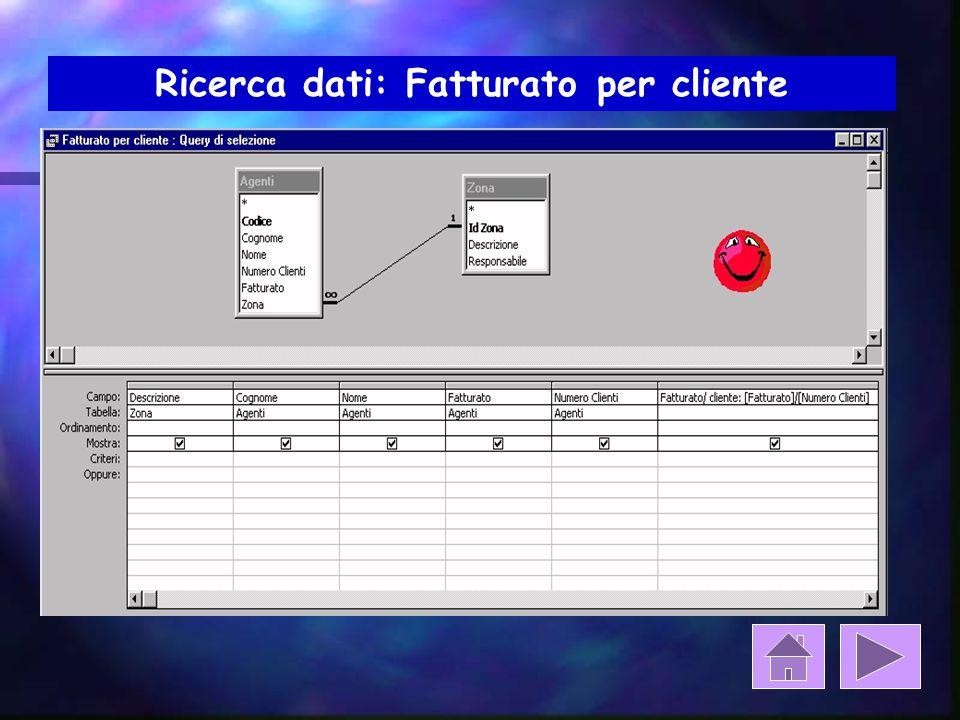 Ricerca dati: Fatturato per cliente