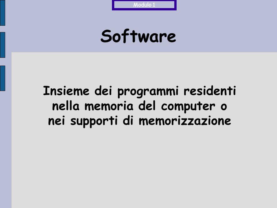 Software Insieme dei programmi residenti nella memoria del computer o nei supporti di memorizzazione Modulo 1