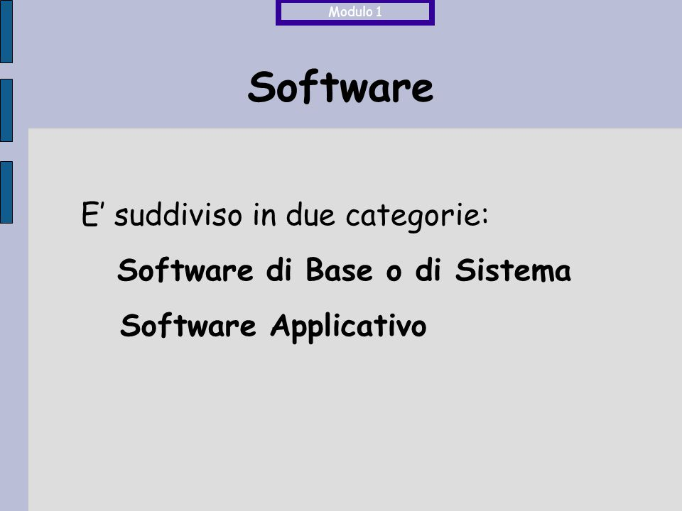 Software E' suddiviso in due categorie: Software di Base o di Sistema Software Applicativo Modulo 1