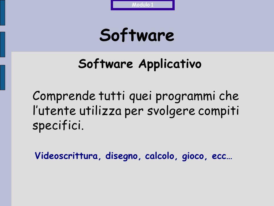 Software Comprende tutti quei programmi che l'utente utilizza per svolgere compiti specifici. Software Applicativo Videoscrittura, disegno, calcolo, g
