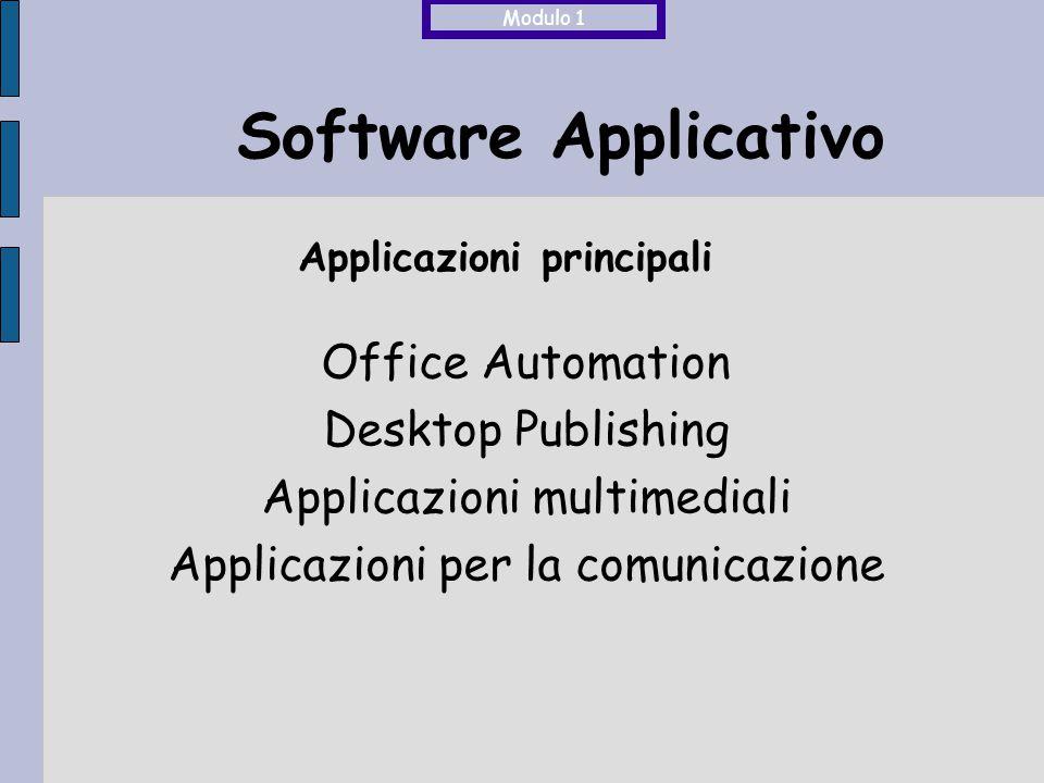 Elaborazione testi Database Fogli di calcolo Presentazioni Software Applicativo Office Automation Word, Access, Excel, PowerPoint, ecc… Software per la gestione di Modulo 1