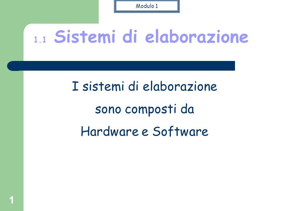 Modulo 1 1 I sistemi di elaborazione sono composti da Hardware e Software 1.1 Sistemi di elaborazione