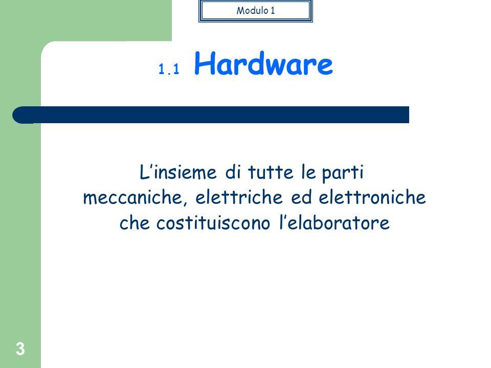 Modulo 1 3 L'insieme di tutte le parti meccaniche, elettriche ed elettroniche che costituiscono l'elaboratore 1.1 Hardware