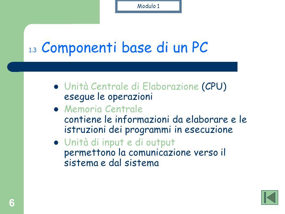 Modulo 1 6 1.3 Componenti base di un PC Unità Centrale di Elaborazione (CPU) esegue le operazioni Memoria Centrale contiene le informazioni da elabora