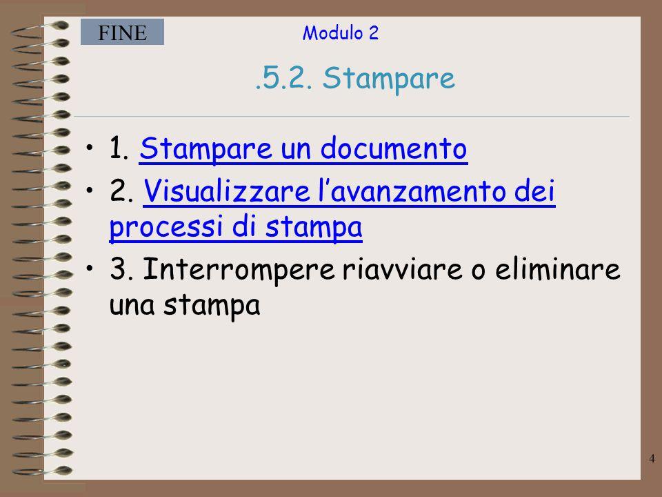 Modulo 2 FINE 5 Stampare da una stampante predefinita. Menù comandi –File Stampa –Cliccare su ok