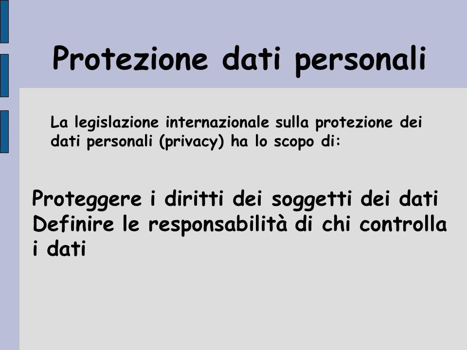 Protezione dati personali Proteggere i diritti dei soggetti dei dati Definire le responsabilità di chi controlla i dati La legislazione internazionale sulla protezione dei dati personali (privacy) ha lo scopo di: