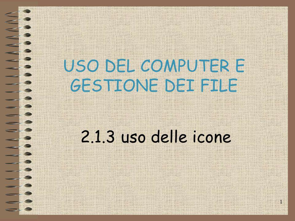 1 USO DEL COMPUTER E GESTIONE DEI FILE 2.1.3 uso delle icone