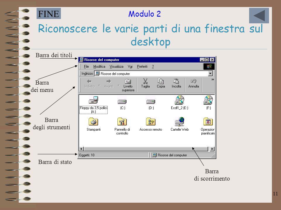 Modulo 2 FINE 11 Riconoscere le varie parti di una finestra sul desktop Barra dei titoli Barra dei menu Barra degli strumenti Barra di stato Barra di