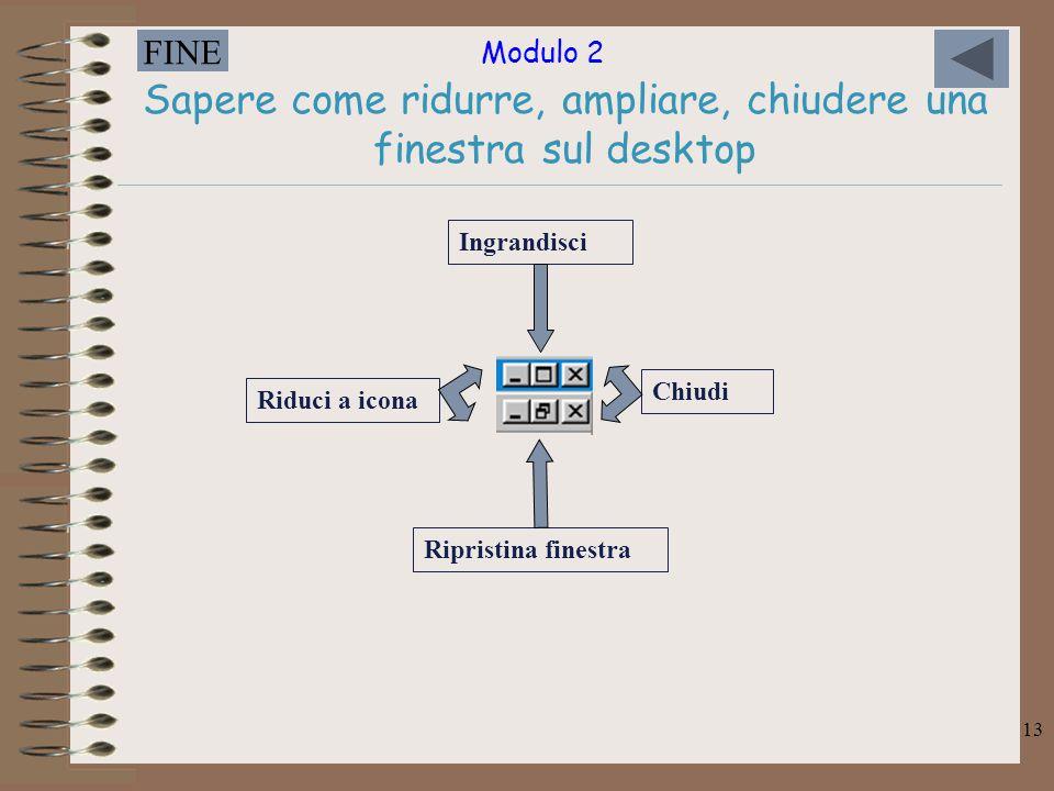 Modulo 2 FINE 13 Sapere come ridurre, ampliare, chiudere una finestra sul desktop Chiudi Ripristina finestra Ingrandisci Riduci a icona