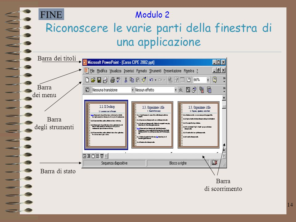 Modulo 2 FINE 14 Riconoscere le varie parti della finestra di una applicazione Barra dei titoli Barra dei menu Barra degli strumenti Barra di stato Ba