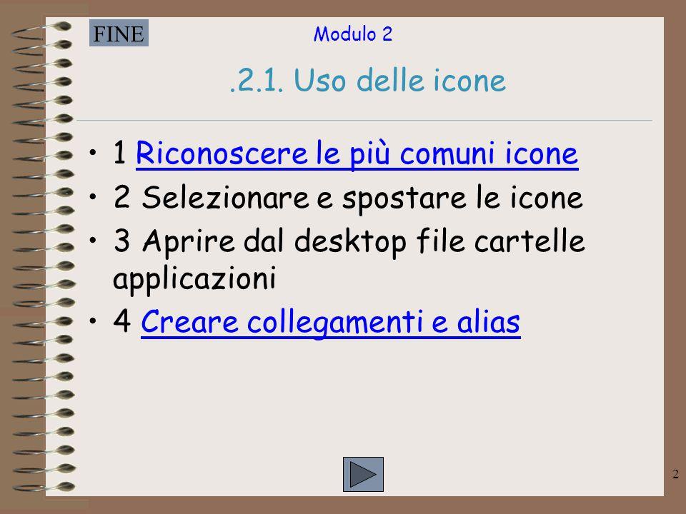Modulo 2 FINE 2.2.1. Uso delle icone 1 Riconoscere le più comuni iconeRiconoscere le più comuni icone 2 Selezionare e spostare le icone 3 Aprire dal d