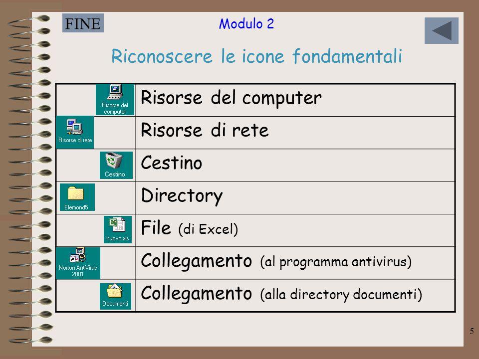 Modulo 2 FINE 5 Riconoscere le icone fondamentali Risorse del computer Risorse di rete Cestino Directory File (di Excel) Collegamento (al programma an