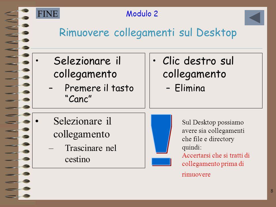 """Modulo 2 FINE 8 Rimuovere collegamenti sul Desktop Selezionare il collegamento –Premere il tasto """"Canc"""" Clic destro sul collegamento –Elimina Selezion"""