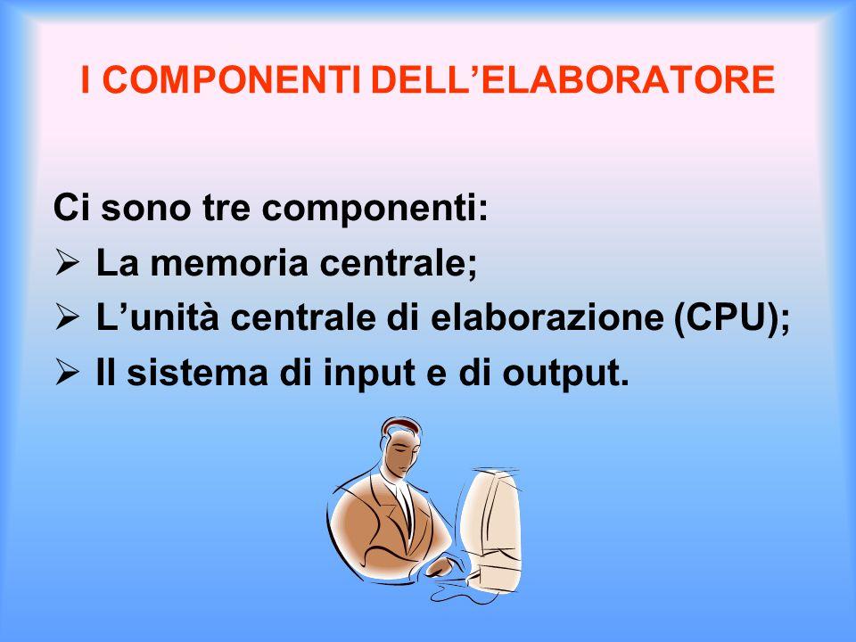 I COMPONENTI DELL'ELABORATORE Ci sono tre componenti:  La memoria centrale;  L'unità centrale di elaborazione (CPU);  Il sistema di input e di outp