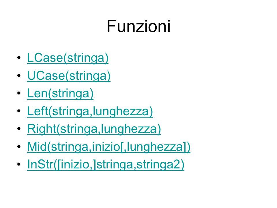 Funzioni LCase(stringa) UCase(stringa) Len(stringa) Left(stringa,lunghezza) Right(stringa,lunghezza) Mid(stringa,inizio[,lunghezza]) InStr([inizio,]st