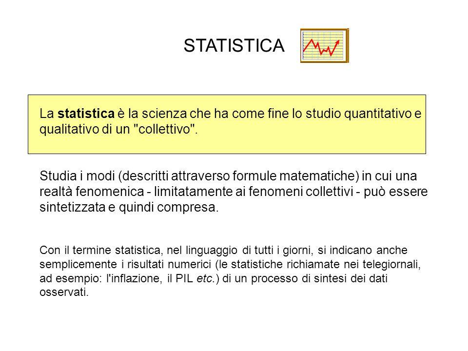 La statistica è la scienza che ha come fine lo studio quantitativo e qualitativo di un collettivo .
