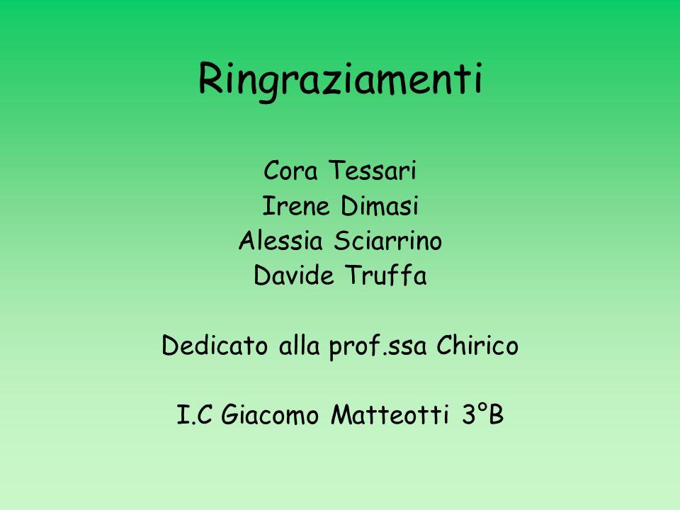 Ringraziamenti Cora Tessari Irene Dimasi Alessia Sciarrino Davide Truffa Dedicato alla prof.ssa Chirico I.C Giacomo Matteotti 3°B