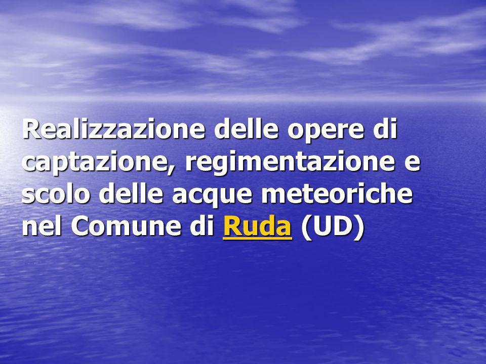 Realizzazione delle opere di captazione, regimentazione e scolo delle acque meteoriche nel Comune di Ruda (UD) Ruda