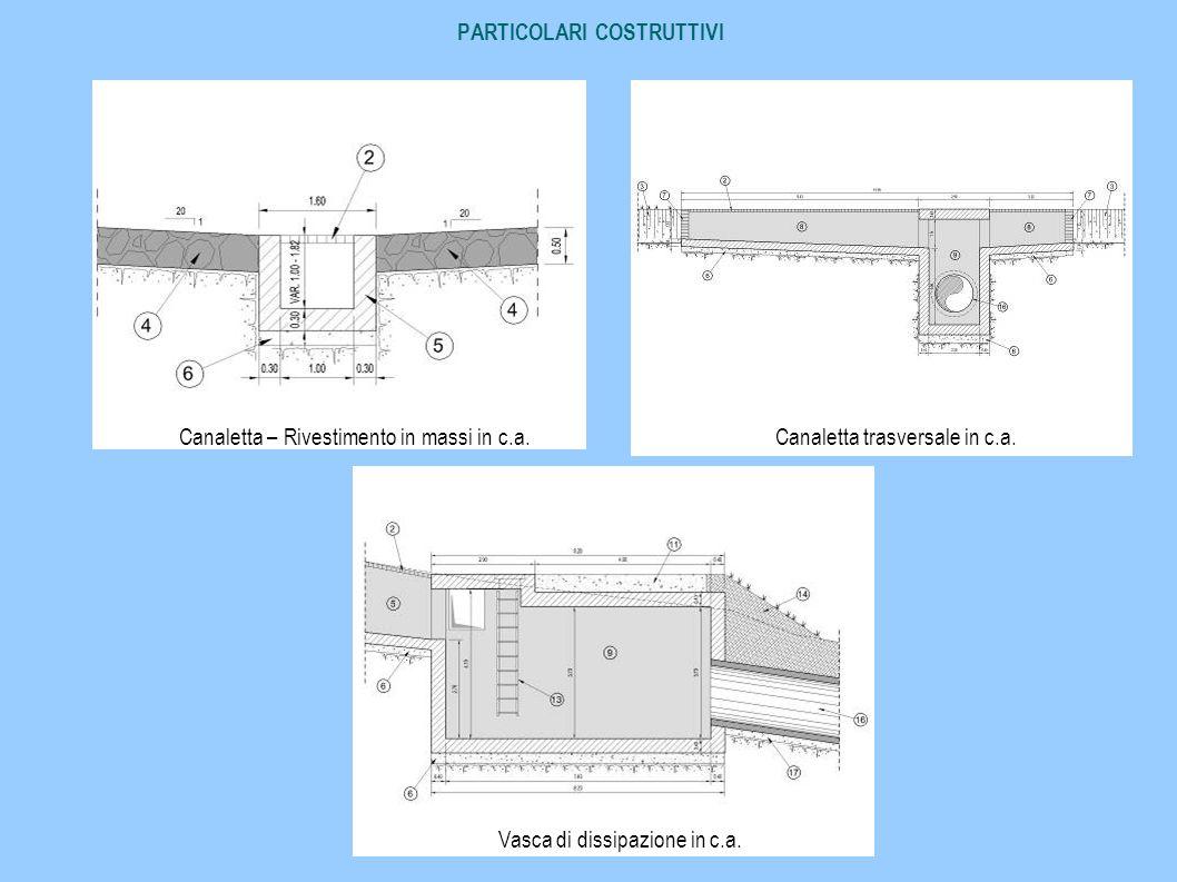 PARTICOLARI COSTRUTTIVI Canaletta – Rivestimento in massi in c.a.Canaletta trasversale in c.a. Vasca di dissipazione in c.a.