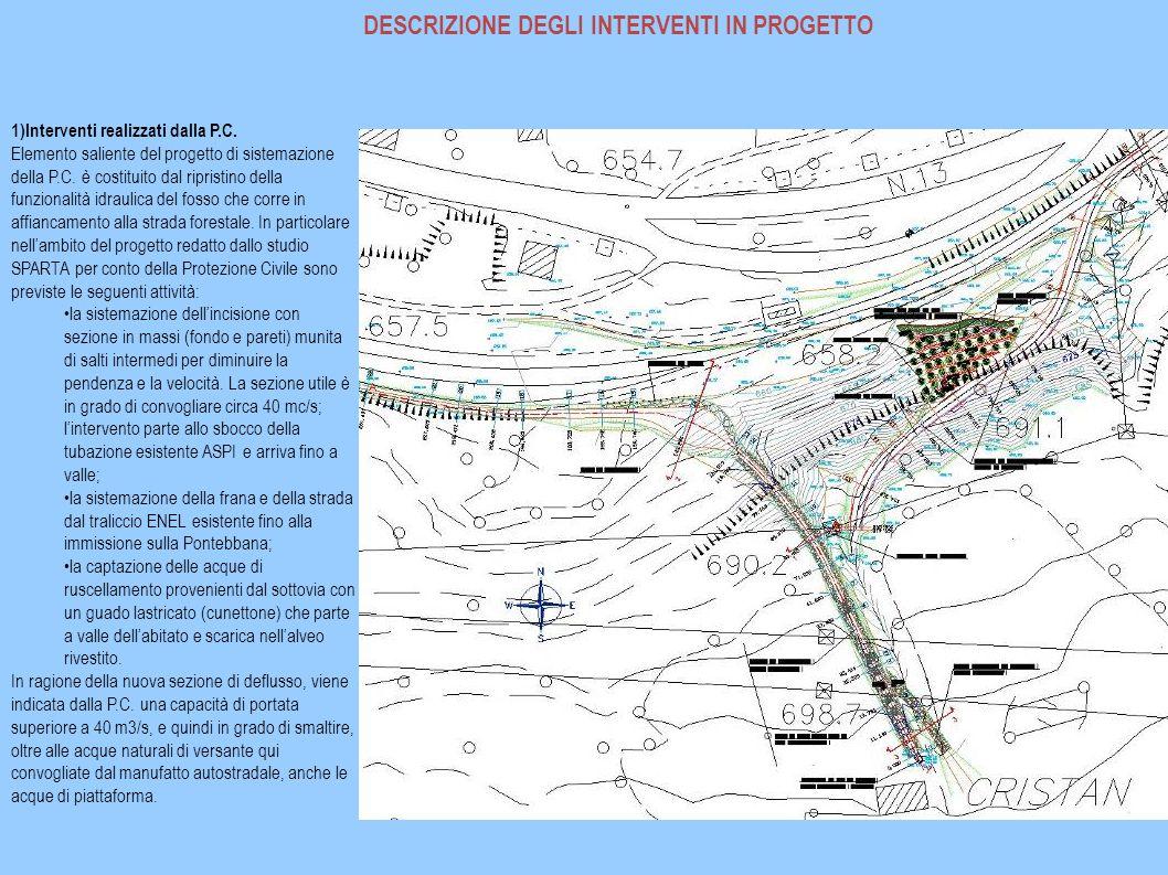 DESCRIZIONE DEGLI INTERVENTI IN PROGETTO 1)Interventi realizzati dalla P.C. Elemento saliente del progetto di sistemazione della P.C. è costituito dal