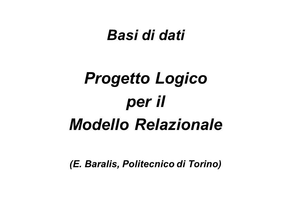 Basi di dati Progetto Logico per il Modello Relazionale (E. Baralis, Politecnico di Torino)