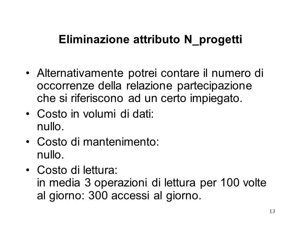 13 Eliminazione attributo N_progetti Alternativamente potrei contare il numero di occorrenze della relazione partecipazione che si riferiscono ad un certo impiegato.