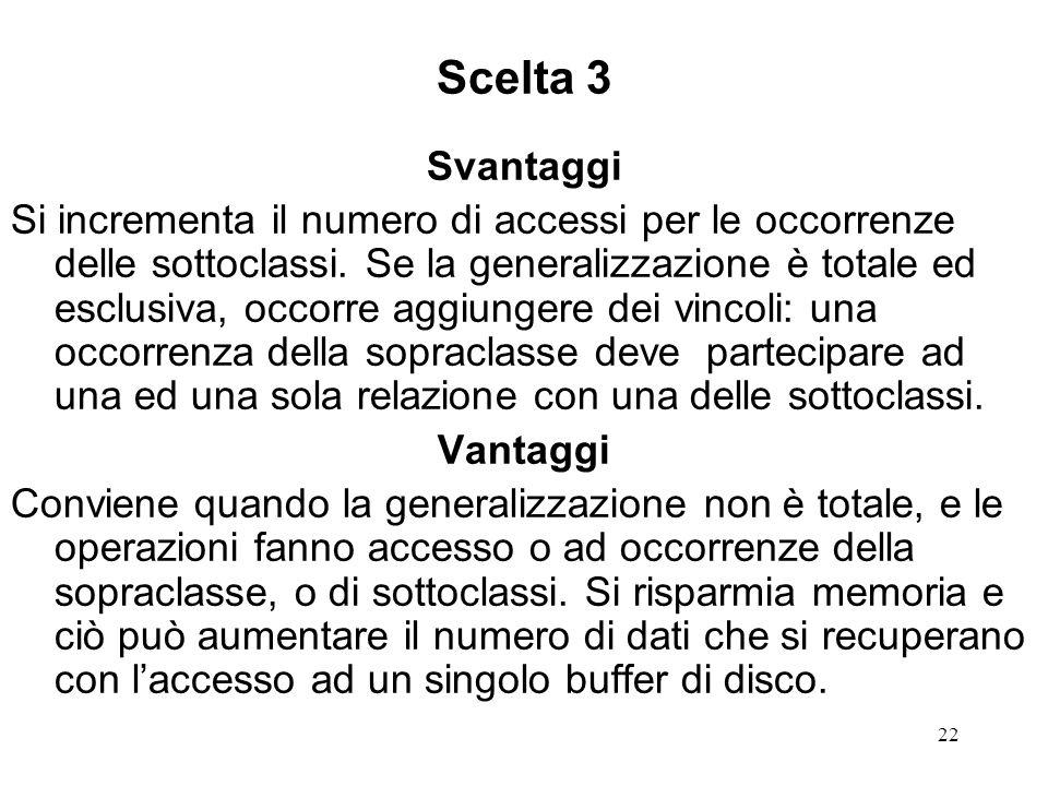 22 Scelta 3 Svantaggi Si incrementa il numero di accessi per le occorrenze delle sottoclassi.
