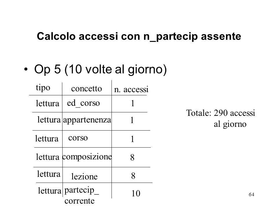 64 Calcolo accessi con n_partecip assente Op 5 (10 volte al giorno) tipo concetto n.