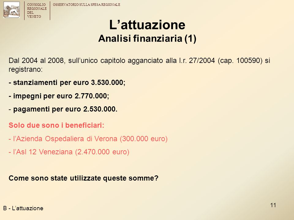 CONSIGLIO REGIONALE DEL VENETO OSSERVATORIO SULLA SPESA REGIONALE 11 L'attuazione Analisi finanziaria (1) B - L'attuazione Dal 2004 al 2008, sull'unico capitolo agganciato alla l.r.