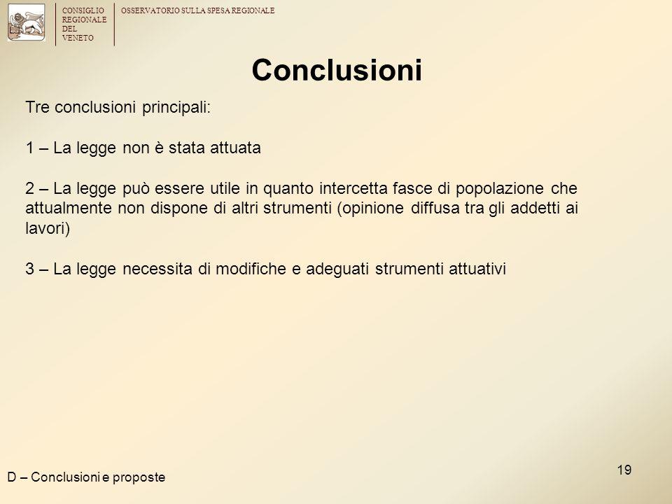 CONSIGLIO REGIONALE DEL VENETO OSSERVATORIO SULLA SPESA REGIONALE 19 Conclusioni D – Conclusioni e proposte Tre conclusioni principali: 1 – La legge n