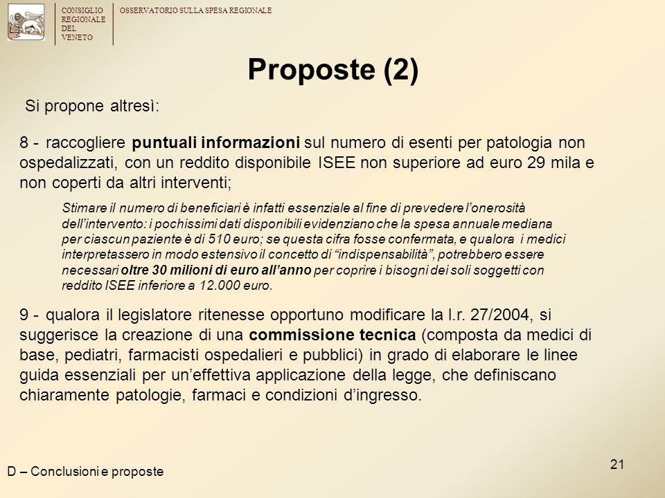 CONSIGLIO REGIONALE DEL VENETO OSSERVATORIO SULLA SPESA REGIONALE 21 Proposte (2) D – Conclusioni e proposte Si propone altresì: 8 -raccogliere puntua