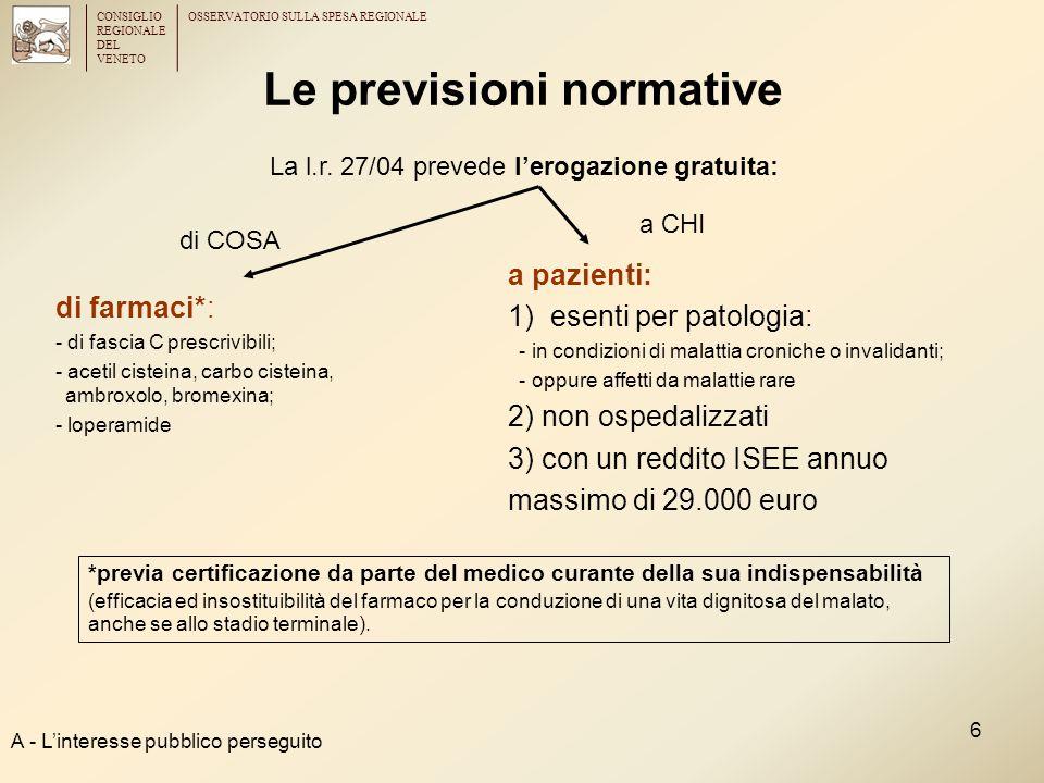 CONSIGLIO REGIONALE DEL VENETO OSSERVATORIO SULLA SPESA REGIONALE 6 Le previsioni normative di farmaci*: - di fascia C prescrivibili; - acetil cisteina, carbo cisteina, ambroxolo, bromexina; - loperamide a pazienti: 1) esenti per patologia: - in condizioni di malattia croniche o invalidanti; - oppure affetti da malattie rare 2) non ospedalizzati 3) con un reddito ISEE annuo massimo di 29.000 euro A - L'interesse pubblico perseguito La l.r.