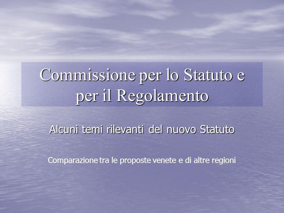 Commissione per lo Statuto e per il Regolamento Alcuni temi rilevanti del nuovo Statuto Comparazione tra le proposte venete e di altre regioni