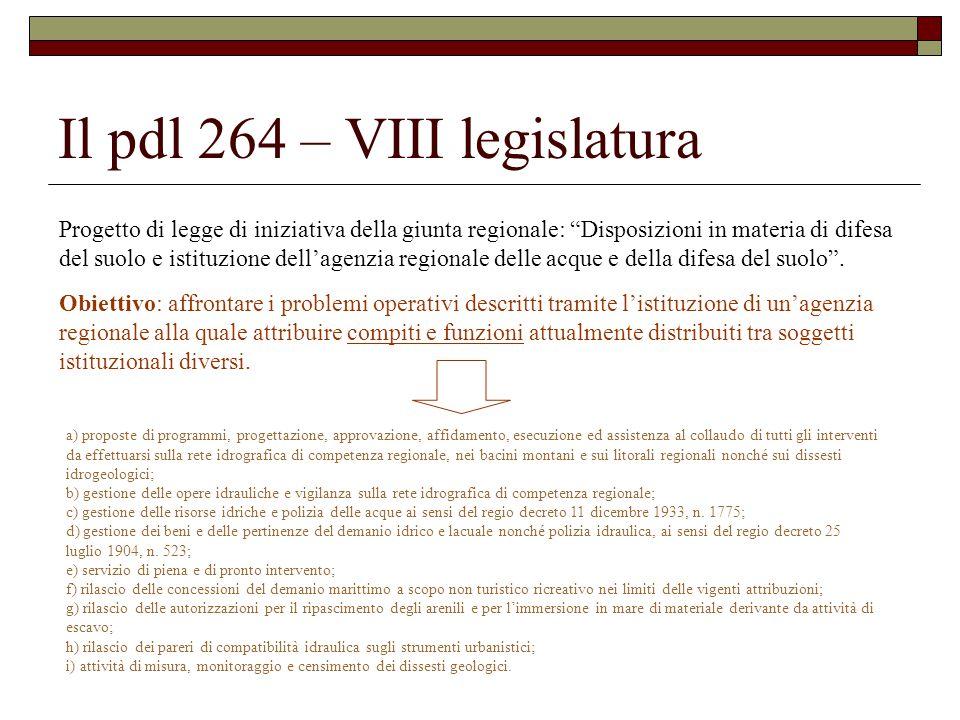 Il pdl 264 – VIII legislatura Progetto di legge di iniziativa della giunta regionale: Disposizioni in materia di difesa del suolo e istituzione dell'agenzia regionale delle acque e della difesa del suolo .