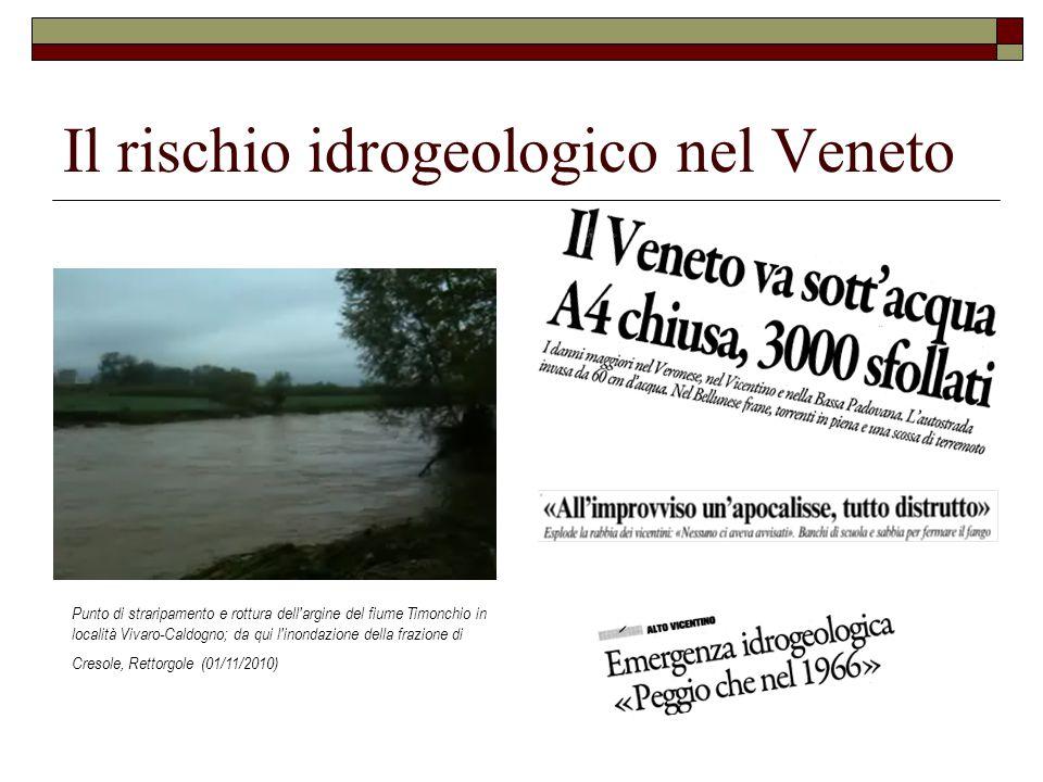 Il rischio idrogeologico nel Veneto Punto di straripamento e rottura dell argine del fiume Timonchio in località Vivaro-Caldogno; da qui l inondazione della frazione di Cresole, Rettorgole (01/11/2010)