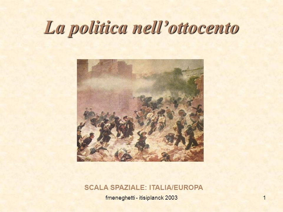 fmeneghetti - itisiplanck 20031 La politica nell'ottocento SCALA SPAZIALE: ITALIA/EUROPA