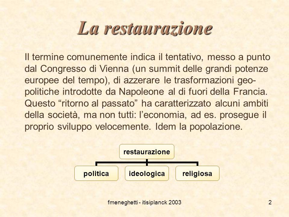 fmeneghetti - itisiplanck 20032 La restaurazione Il termine comunemente indica il tentativo, messo a punto dal Congresso di Vienna (un summit delle gr