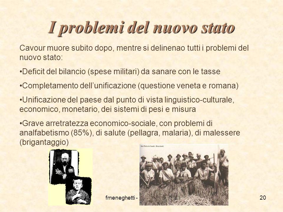 fmeneghetti - itisiplanck 200320 I problemi del nuovo stato Cavour muore subito dopo, mentre si delinenao tutti i problemi del nuovo stato: Deficit de