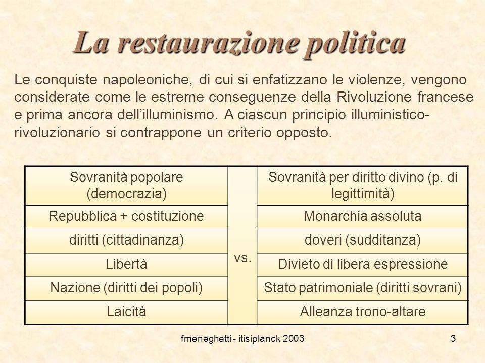 fmeneghetti - itisiplanck 20033 La restaurazione politica Le conquiste napoleoniche, di cui si enfatizzano le violenze, vengono considerate come le es
