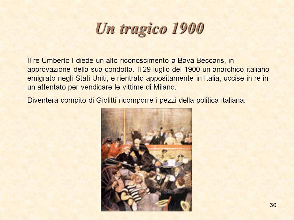 fmeneghetti - itisiplanck 200330 Un tragico 1900 Un tragico 1900 Il re Umberto I diede un alto riconoscimento a Bava Beccaris, in approvazione della s