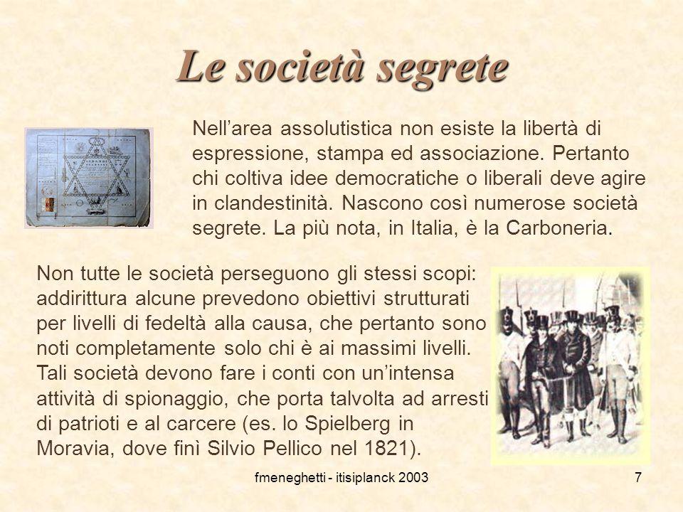 fmeneghetti - itisiplanck 20037 Le società segrete Nell'area assolutistica non esiste la libertà di espressione, stampa ed associazione. Pertanto chi