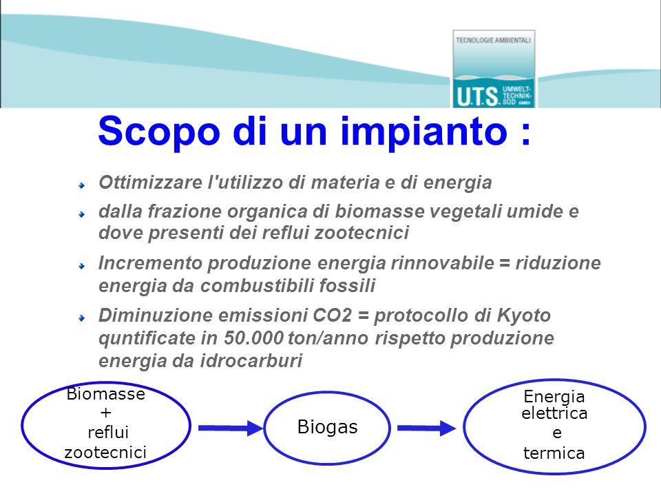 Progetto: Impianto di biogas Andretta San Liberale di Marcon (VE) Potenza elettrica installata: 346 kW el Input/giorno per 346 kW: Letame bovino 5 ton Liquame bovino 10 mc Insilato di mais 6 ton Scarti di pane 2,5 ton Sfalci d'erba 3 ton Ricircolo 30 mc Ampliamento a 1.062 kW el con altro cogeneratore da 716 kW el