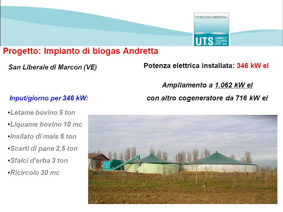 Progetto: Impianto di biogas Andretta San Liberale di Marcon (VE) Potenza elettrica installata: 346 kW el Input/giorno per 346 kW: Letame bovino 5 ton