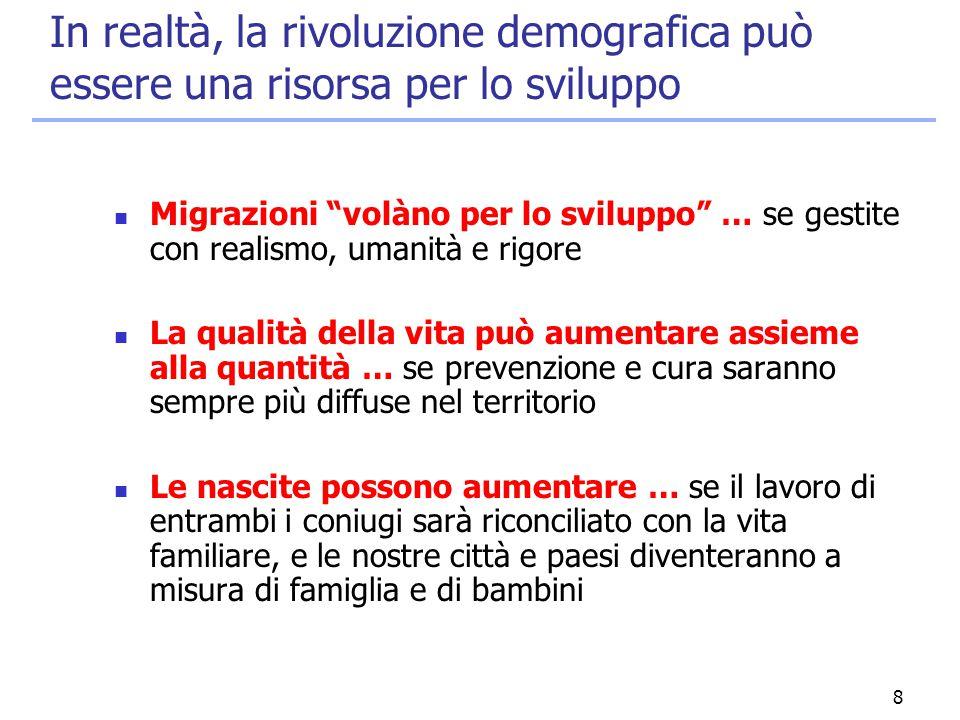 """8 In realtà, la rivoluzione demografica può essere una risorsa per lo sviluppo Migrazioni """"volàno per lo sviluppo"""" … se gestite con realismo, umanità"""