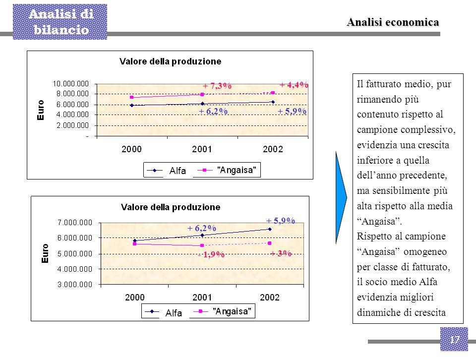 Analisi di bilancio 17 Il fatturato medio, pur rimanendo più contenuto rispetto al campione complessivo, evidenzia una crescita inferiore a quella del
