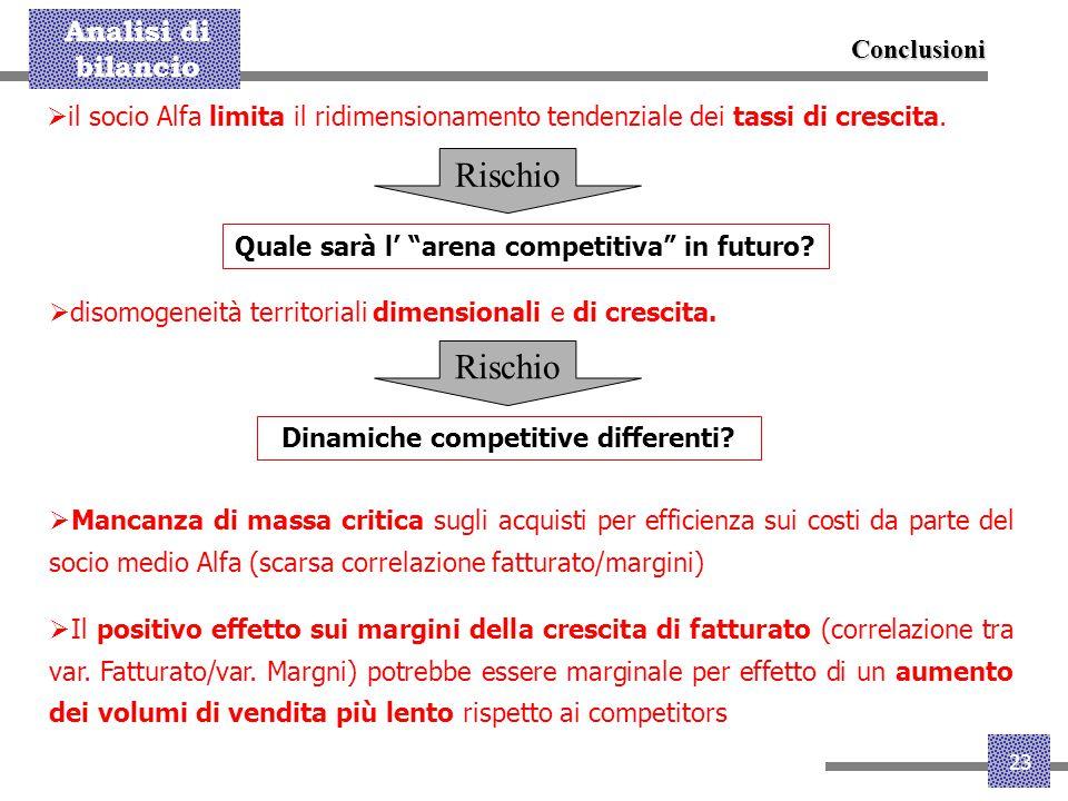 """Analisi di bilancio 23  il socio Alfa limita il ridimensionamento tendenziale dei tassi di crescita. Rischio Quale sarà l' """"arena competitiva"""" in fut"""